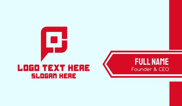 marketing - Gaming Tech Letter P Business card horizontal design
