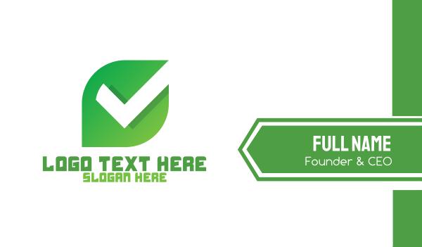 verify - Modern Leaf Check Business card horizontal design