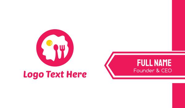 edible - Pink Breakfast Business card horizontal design