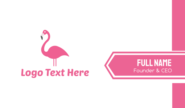 beak - Pink Flamingo Business card horizontal design