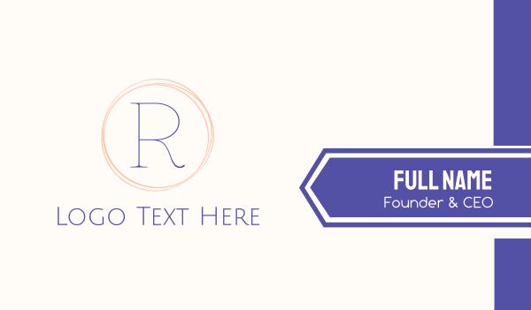 couture - Minimalist R Circle Business card horizontal design