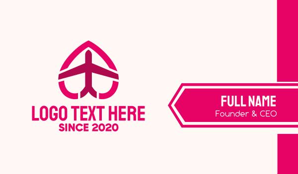 aeronautical - Pink Honeymoon Travel  Business card horizontal design