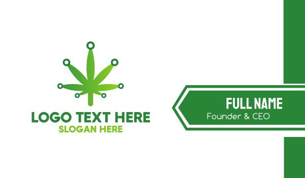 tobacco - Cannabis Maijuana Leaf Technology Business card horizontal design