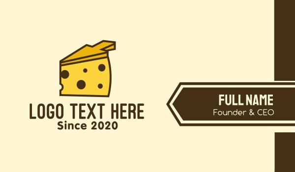 food service - Yellow Cheese Arrow Business card horizontal design