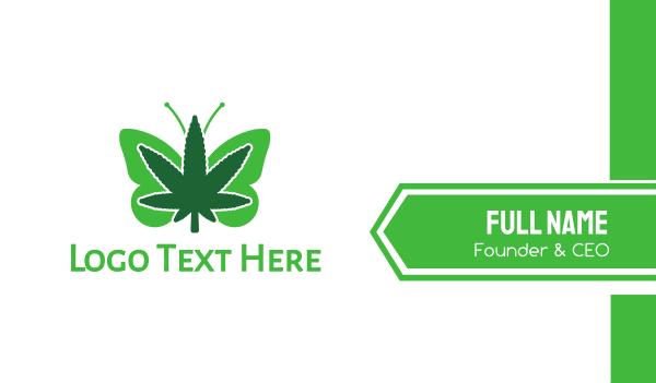 hemp - Butterfly Cannabis Business card horizontal design