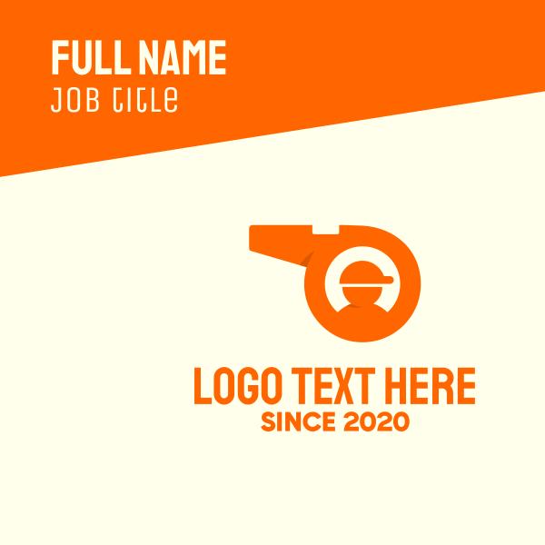 Orange Coaching Whistle Business Card