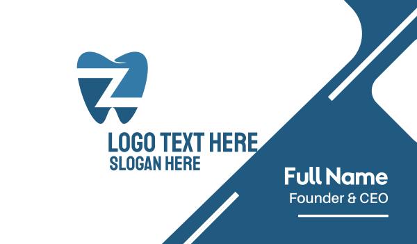 lettermark z - Dental Tooth Letter Z Business card horizontal design