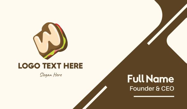 food service - Sandwich Letter W  Business card horizontal design