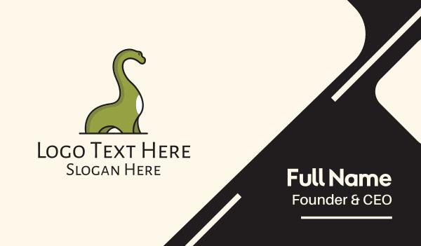 dino - Green Branchiosaurus Dinosaur Business card horizontal design