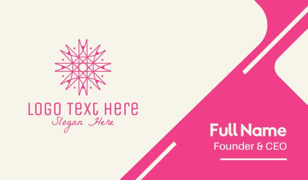 interior decorator - Pink Snowflake Decor Business card horizontal design