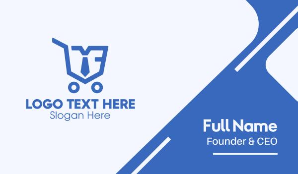 employer - Blue Employee Shopping Cart Business card horizontal design