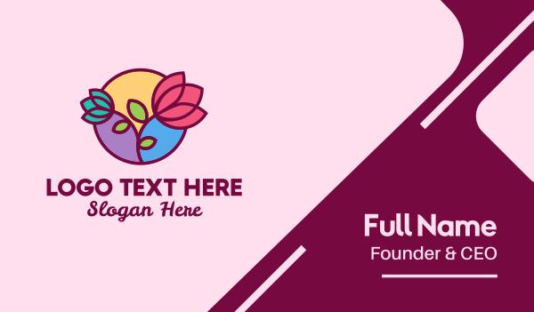linear - Flower Store Tulip  Business card horizontal design