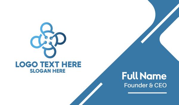 webhosting - Tech Blue Flower Business card horizontal design