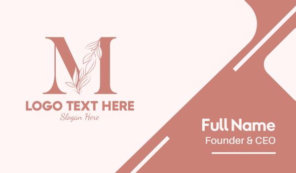 aesthetics - Elegant Leaves Letter M Business card horizontal design