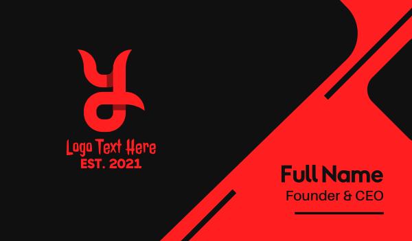 lucifer - Devil Horn Letter Y Business card horizontal design
