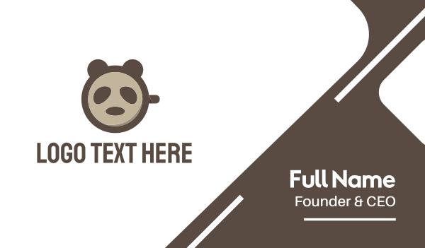 brown cup - Panda Coffee Business card horizontal design