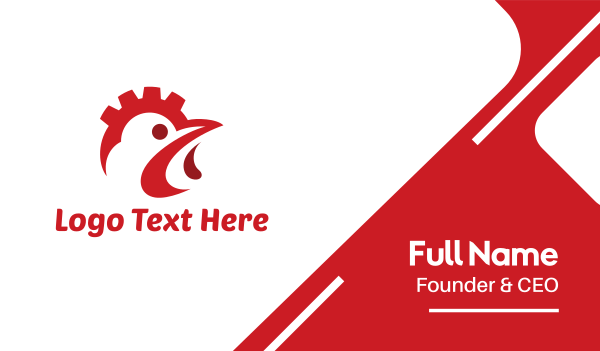 red rooster - Industrial Chicken Business card horizontal design