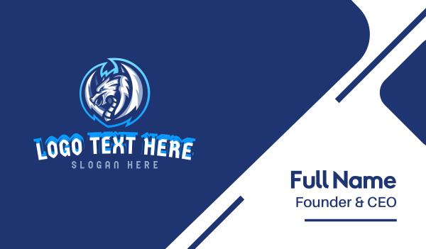 playoffs - Blue Winged Dragon Mascot Business card horizontal design