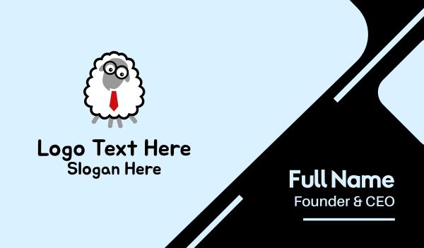 tutorial center - Cartoon Geek Sheep  Business card horizontal design