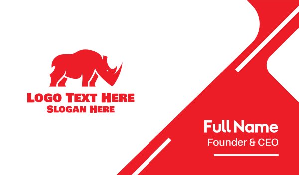 powerful - Wild Red Rhino Business card horizontal design