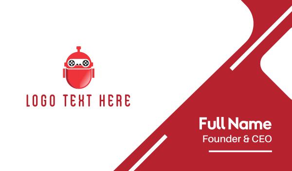 robotic - Red Gaming Robot Business card horizontal design