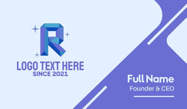 glitter - Shiny Gem Letter R Business card horizontal design