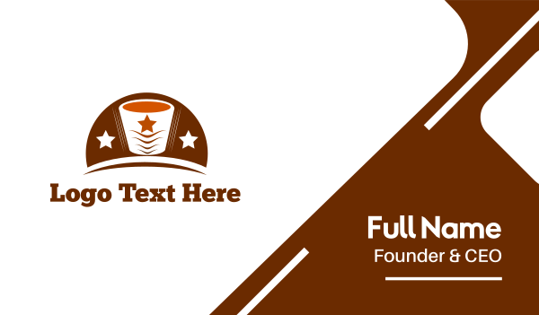 brown cup - Star Coffee Business card horizontal design