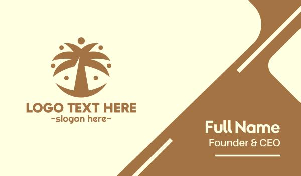 brown circle - Round Palm Tree Business card horizontal design