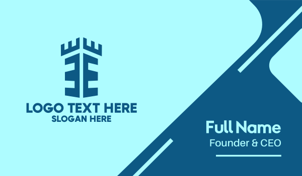 historical - Blue Fort Letter E Business card horizontal design