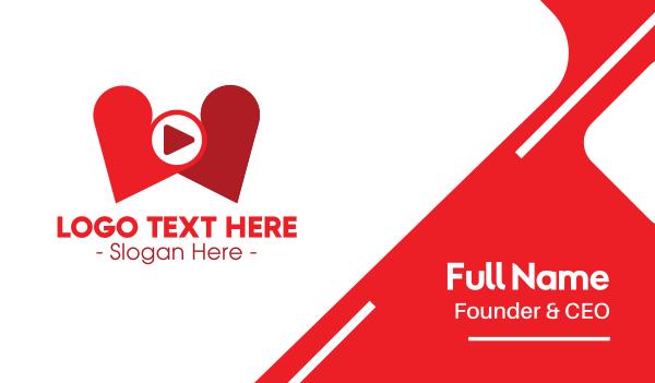 dating - Lovely Heart Media Player Business card horizontal design