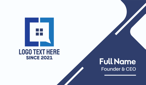 chat box - Blue Window House App Business card horizontal design