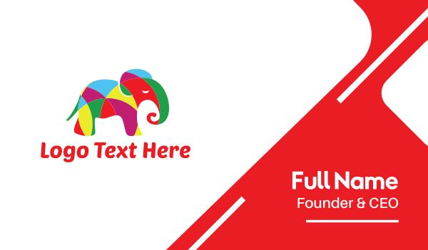 transparent - Bright Colorful Elephant  Business card horizontal design