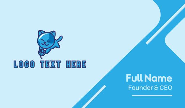 playing - Playful Blue Kitten Cat Business card horizontal design