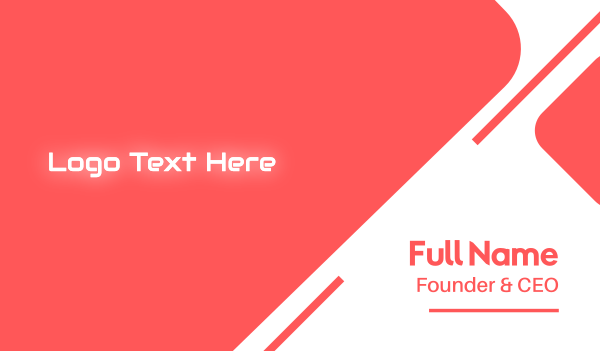 av - Neon Glow Text Business card horizontal design