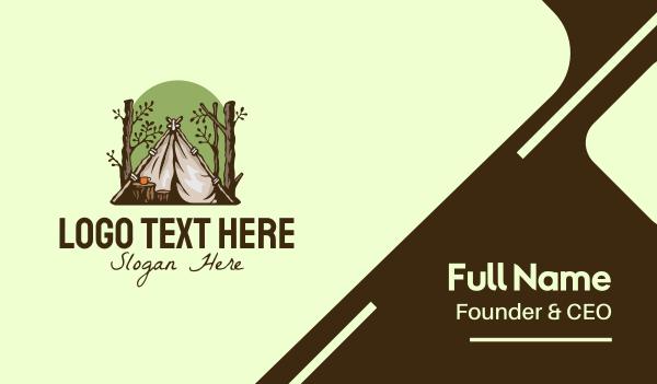 homemade - Rustic Forest Camper  Business card horizontal design