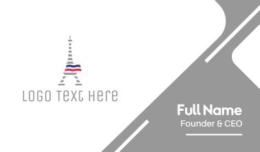 Striped Eiffel Tower Business Card