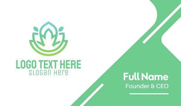 leisure - Gradient Green Flower Outline Business card horizontal design