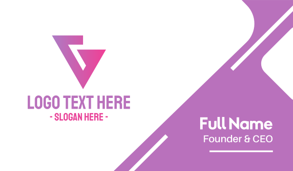 pink triangle - Pink Geometric G  Business card horizontal design
