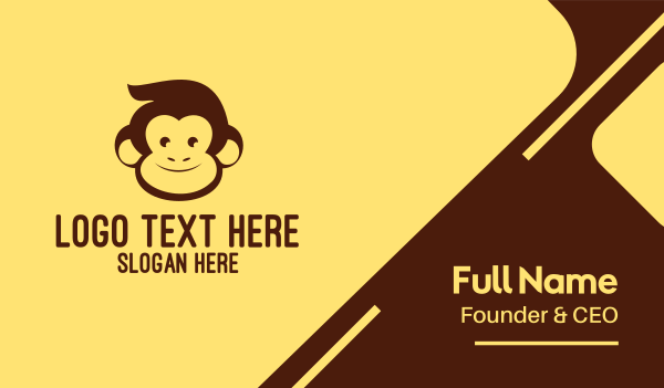 jungle - Brown Happy Monkey Business card horizontal design
