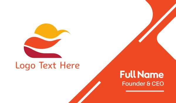 orange sun - Orange  Sky Business card horizontal design