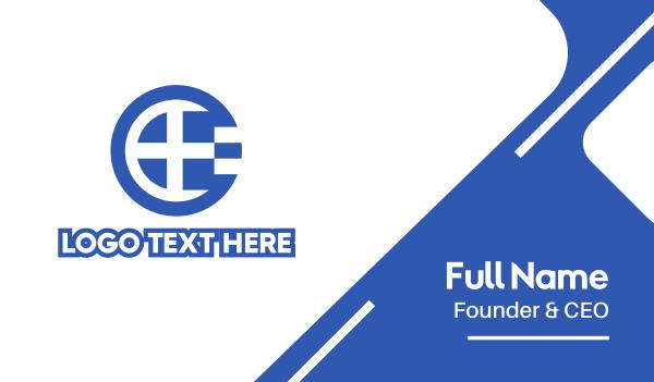 athens - Round Greece Flag Letter E Business card horizontal design