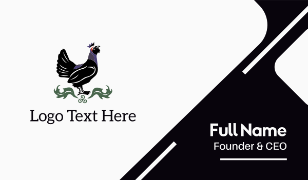 black bird - Black Rooster King Business card horizontal design