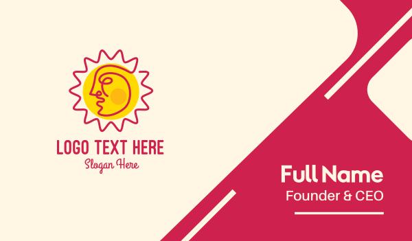 solar - Summer Sun Face Business card horizontal design