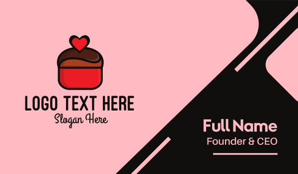 muffin - Naughty Love Heart Chocolate Dessert Business card horizontal design
