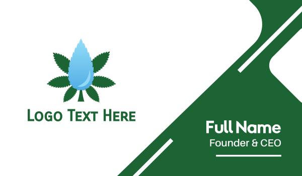 cbd oil - Droplet Cannabis Business card horizontal design