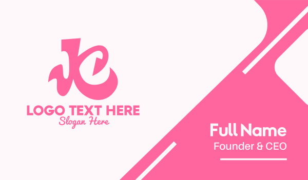script - Pink Curly Letter K Business card horizontal design