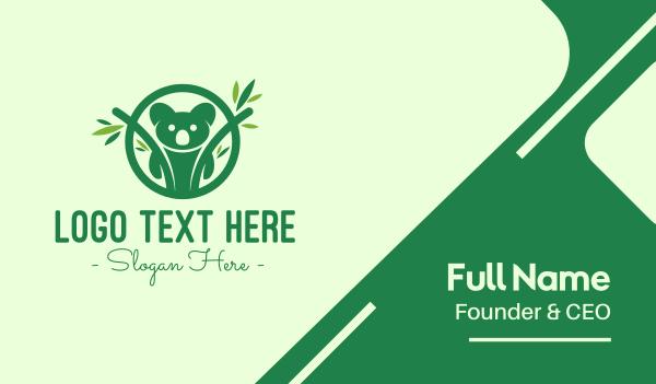bear - Green Forest Koala Business card horizontal design