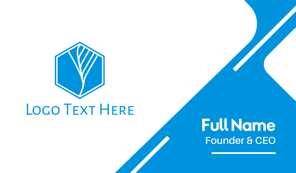 blue hexagon - Hexagonal Blue Tree Business card horizontal design