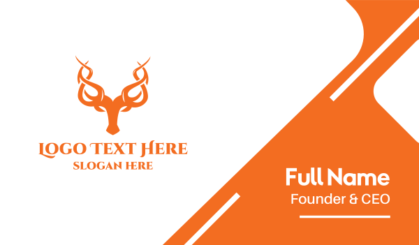 reindeer - Orange Vine Horn Business card horizontal design