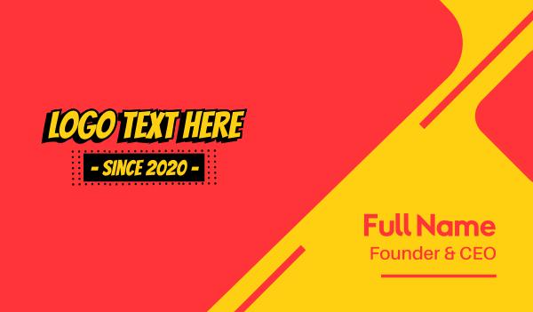 kid apparel - Comic Book Text Business card horizontal design